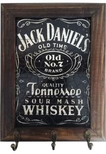 Porta Chaves Retrô Jack Daniel'S - Madeira - C/3 Ganchos