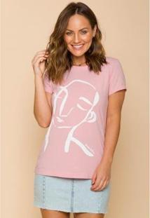 Camiseta Sislla Meu Retrato Feminina - Feminino-Rosa