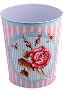 Lixeira 25,5Cm De Ferro Rosas Retro Vintage Dolce Home - D03004-Fl