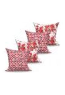 Conjunto De Capas De Almofadas Com 4 Peças Fiori Triângulo Vermelho 60X60 Cm