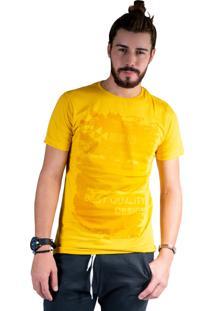 Camiseta Mister Fish Estampado Palmeiras Mostarda