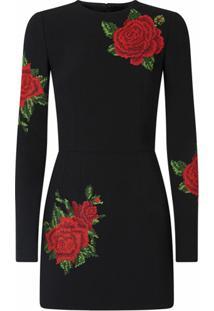 Dolce & Gabbana Vestido De Seda Com Bordado - Preto
