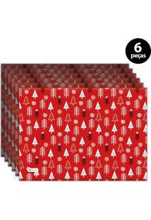 Jogo Americano Mdecore Natal Pinheiros 40X28 Cm Vermelho 6Pçs