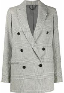 Allsaints Double Breasted Check Pattern Blazer - Cinza