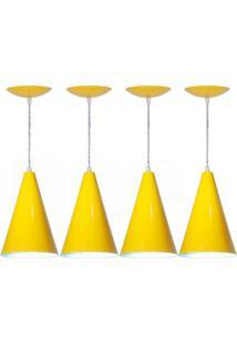 Kit 04 Luminárias Pendente Cone Em Alumínio Amarelo