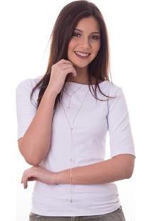 Blusa Ficalinda Meia Manga Proteção Uv Fashion 50+ Feminina - Feminino-Branco