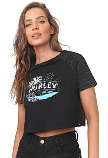 Camiseta Cropped Hurley Raglan Castaway Preta