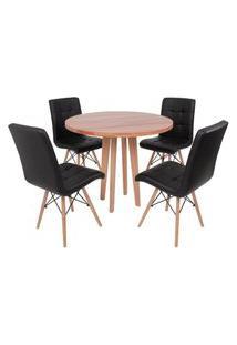Conjunto Mesa De Jantar Em Madeira 90Cm Com Base Vértice + 4 Cadeiras Gomos - Preto