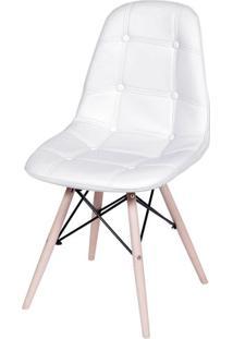 Cadeira Eames Botone Branca Base Madeira - 32073 Sun House