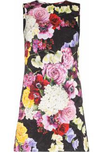 Dolce & Gabbana Vestido Reto Floral - Preto