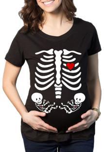 Camiseta Criativa Urbana Grávida Gestantes Gêmeos Preto