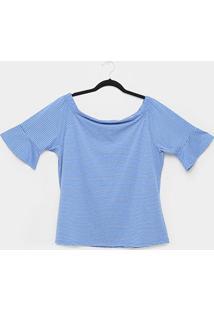 Blusa Plus Size Lecimar Listrada Feminina - Feminino-Azul