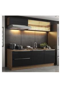 Cozinha Completa Madesa Lux Com Armário E Balcáo 5 Portas 2 Gavetas - Rustic/Preto Marrom