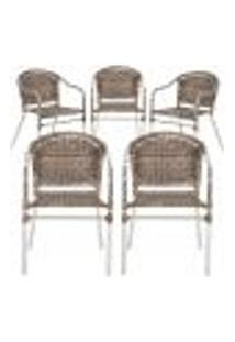 Cadeiras 5Un Para Area Varanda Fibra Sintetica Sala Cozinha Jardim Sacada Floripa - Argila