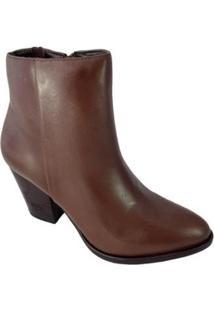 Ankle Boot Salto Sapatoweb Couro Feminino - Feminino-Caramelo
