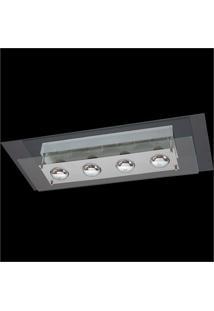 Plafon Retangular Para 4 Lâmpadas Spacial Transparente