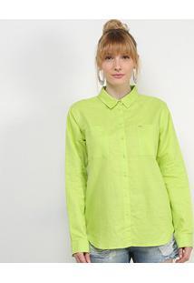 Camisa Social Colcci Linho Feminina - Feminino-Verde Claro