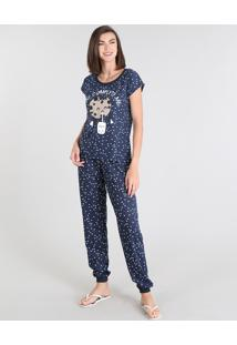 "Pijama Feminino Milk E Cookie ""You Complete Me"" Estampado Manga Curta Azul Marinho"