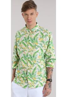 Camisa Estampada Floral Tropical Off White