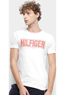 Camiseta Tommy Hilfiger Box Logo Masculina - Masculino-Branco