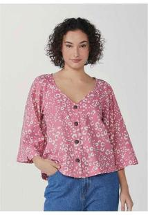 Blusa Feminina Em Tecido Flamê Estampado Rosa