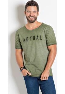 Camiseta Actual Verde Com Bordado