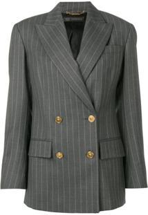 Versace Blazer Risca De Giz Com Abotoamento Duplo - Cinza
