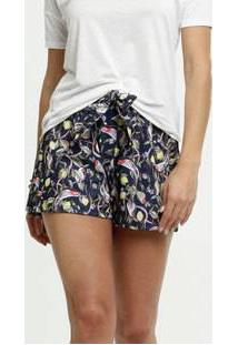 Short Feminino Clochard Estampa Folhas Mrc Girl