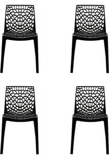Conjunto De 4 Cadeiras Gruv Preta
