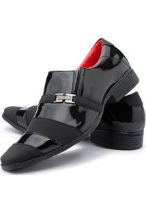 Sapato Social Couro Ecológico Ruggero Masculino - Masculino-Preto