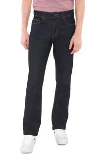 Calça Jeans Lacoste Reta Lisa Azul-Marinho