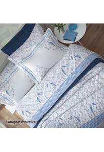 Edredom Hamani King Size- Branco & Azul- 250X290Cm