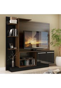 Estante Home Theater Para Tv Até 55 Pol. Denver Multimóveis Duna Acetinado Com Preto Brilho
