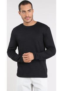 Suéter Masculino Slim Fit Em Tricô Preto