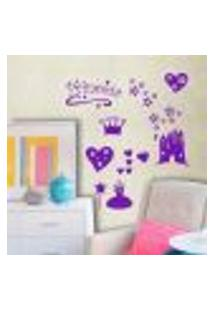 Adesivo De Parede Cartelas Infantil Princesas - P 20X50Cm
