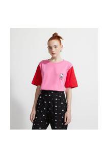 Blusa Alongada Em Algodão Com Mangas Contrastantes Estampa Hello Kitty