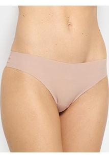 Calcinha Tanga Calvin Klein Com Logo - Feminino-Nude