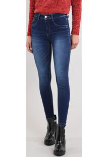 Calça Jeans Feminina Sawary Skinny Cintura Alta Azul Escuro