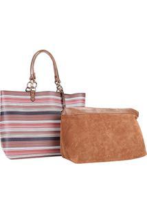 Bolsa Shopper Listrada Wj Com Nécessaire Feminina - Feminino-Coral