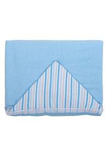 Toalha De Banho Bebê Masculino Algodão Azul Com Capuz Listrado - Baby Joy - Tamanho Único - Azul