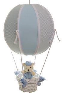 Lustre Balão Bolinha Urso Quarto Bebê Infantil Menino Potinho De Mel Azul - Kanui