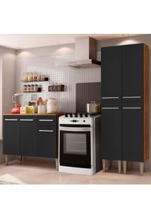 Cozinha Compacta Madesa Emilly Front Com Balcão E Paneleiro - Rustic/Preto Marrom