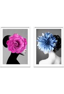 Quadro 67X100Cm Bella Mulher Com Flores Rosa E Azul Nórdico Moldura Branca Com Vidro