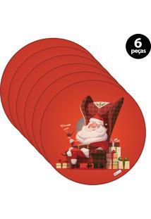 Capa Para Sousplat Mdecore Natal Feliz Natal Vermelho 6Pçs