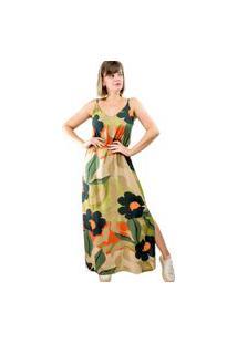 Vestido Fenda Modisch Floral Militar