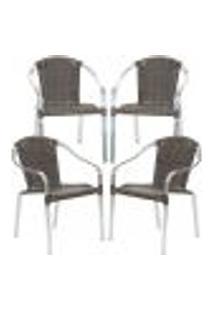 Cadeiras 4Un Para Area Varanda Fibra Sintetica Sala Cozinha Jardim Sacada Pinheiro - Pedra Ferro