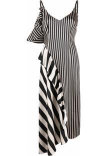 Parlor Vestido Assimétrico Com Listras - Neutro