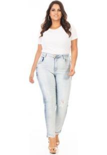 Calça Jeans Cigarrete Cintura Alta Plus Size Confidencial Extra Feminina - Feminino-Azul