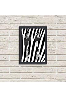 Porta Chaves Decorativo Estampado Luxo Listras Zebra Preto
