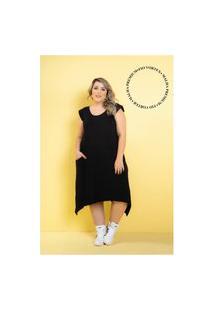 Vestido New Comfy Premium Black Plus Size 56 Maria Rosa Plus Vestido Preto